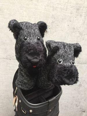犬のヘッドカバー DR・FW用2個セット ブラック
