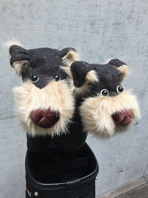 犬のヘッドカバー DR・FW用2個セット ツイードブラック