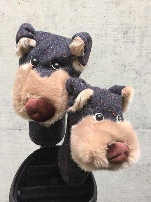 犬のヘッドカバー DR・FW用2個セット チャコール