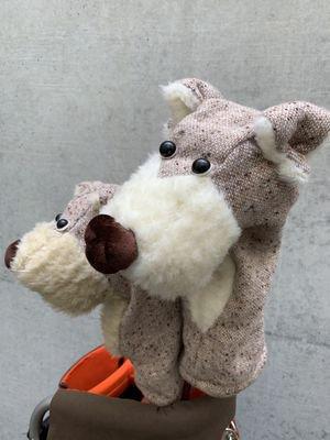 犬のヘッドカバー DR・FW用2個セット ツイードベージュ