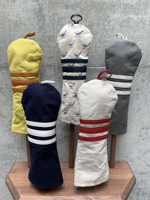 木の庄帆布 帆布×レザーヘッドカバー フェアウェイウッド【ボーダー】