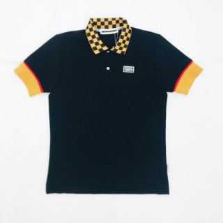 <MEN> Checkered polo / BLACK