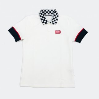 <MEN> Checkered polo / WHITE