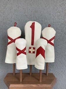 木の庄帆布 レザーヘッドカバー ホワイト