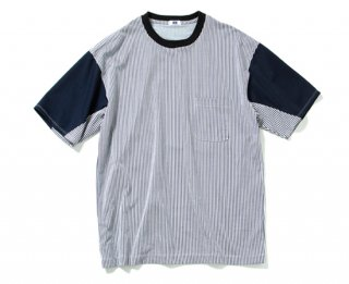 T/C STRIPE T-SHIRT(navy/WHITE)