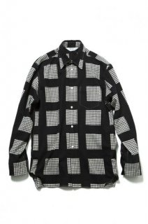 COTTON FRENCH TWILL PRINTED BLOCK CHECK(BLACK)