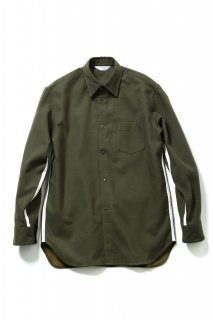 COTTON FLANNEL DUAL-LAYERED TAPE SHIRT(KHAKI)