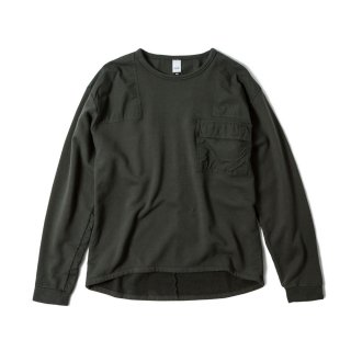 OVER DYED MIL CREW(FADE BLACK)