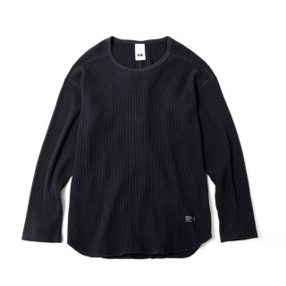 BIG WAFFLE ROUND LS T MADE BY JE MORGAN(FADE BLACK)