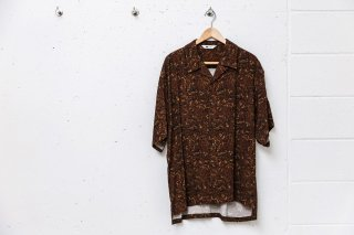Open Collar Shirts Paisley Pattern(BROWN)