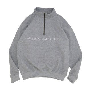 LONG LETTER HALF ZIP SWEAT (SPORT GREY)