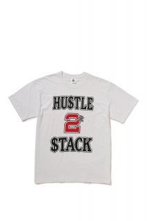 HUSTLE 2 STACK TEE(WHITE)