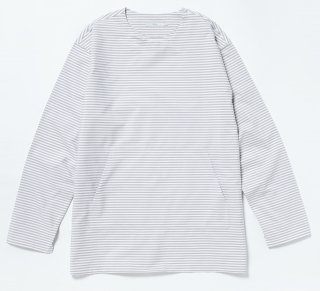 BORDER SHIRTS LONG TEE(GREY)