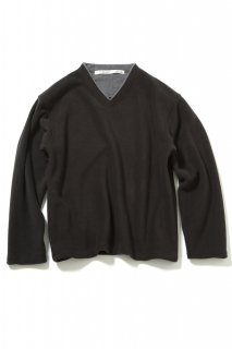 V-neck Fleece Pullover(BLACK)