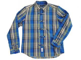Flannel china shirts(BLUE) -GOFUKUSAY- 14AW