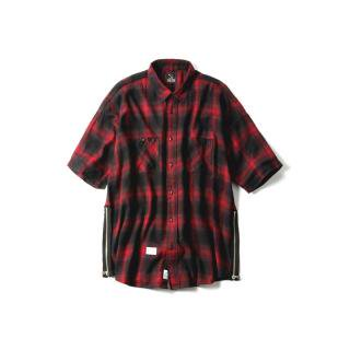"LAID BACK CHILLIN SHIRTS ""CUBE""(BLACK × RED) -MAGIC STICK- 15SS"