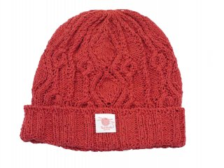 Linen cotton Allan knit cap(RED)【アランニットキャップ】 -BOTH HANDS- 15SS