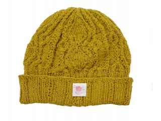 Linen cotton Allan knit cap(YELLOW)【アランニットキャップ】 -BOTH HANDS- 15SS
