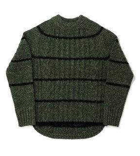 <img class='new_mark_img1' src='//img.shop-pro.jp/img/new/icons50.gif' style='border:none;display:inline;margin:0px;padding:0px;width:auto;' />DUCK TALE ALLAN STRIPE CREW SWEATER(OLIVE) -BAL- 15FW