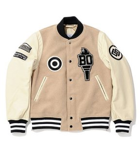 <img class='new_mark_img1' src='//img.shop-pro.jp/img/new/icons50.gif' style='border:none;display:inline;margin:0px;padding:0px;width:auto;' />QUEEN SIDE ZIP VARSITY JACKET(BEIGE) -BAL- 15FW