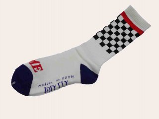 <img class='new_mark_img1' src='//img.shop-pro.jp/img/new/icons50.gif' style='border:none;display:inline;margin:0px;padding:0px;width:auto;' />RUTSUBO Checker Socks(WHITE) -I&ME×坩堝-