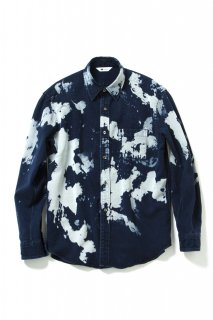 "BLEACH DENIM SHIRT ""THENEWART""(NAVY) -SOE- 16S/S"