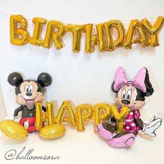 誕生日デコ☆ミッキー&ミニーと一緒にフォトスポット☆自分でふくらますフラットタイプ