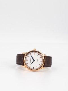 【CORNICHE】コーニッシュ The Heritage 40 ローズゴールドケース ホワイトフェイス ブラウンレザー 時計