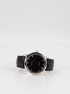 【CORNICHE】コーニッシュ The Heritage 40 シルバーケース ブラックフェイス ブラックレザー 時計