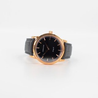 【CORNICHE】コーニッシュ The Heritage 40 ローズゴールドケース ブラックフェイス ブラックレザー 時計
