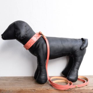 【BABA PARIS】 ババ パリ ANIS collar & leash コーラルオレンジ 首輪