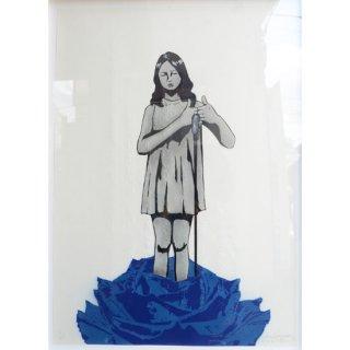 【AITO KITAZAKI】アイトキタザキ Blue Rose Fight青い薔薇 紙 原画 額付き