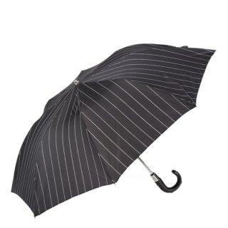 【Pasotti】パソッティ 折りたたみ傘 スタッズレザーハンドル ブラックストライプ