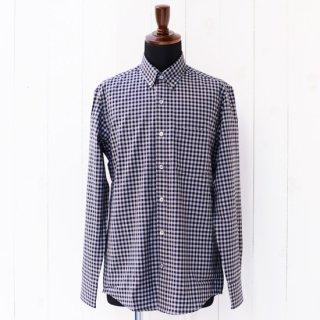 【Wool&Prince】ウール&プリンス ボタンダウンシャツ ネイビー/グレーギンガムチェック