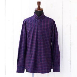【Wool&Prince】ウール&プリンス ボタンダウンシャツ ネイビー/レッドチェック