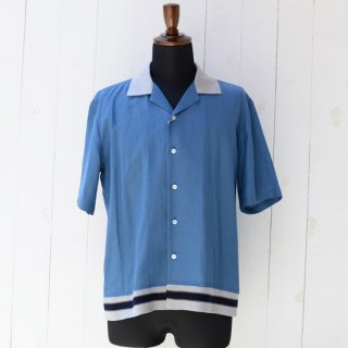 【KAZUKI NAGAYAMA】カズキナガヤマ オープンカラーリブシャツ ブルー 青