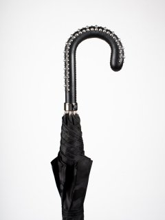 【Pasotti】パソッティ BLACK CAMOUFLAGE UMBRELLA WITH STUDS ON THE HANDLE 傘