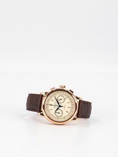 【CORNICHE】コーニッシュ Heritage Chronograph ローズゴールドケース クリームダイアル ブラウンレザー 時計