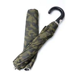 【Pasotti】パソッティ 折りたたみ傘 グリーンカモフラージュ レザーハンドル