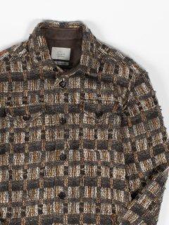 【wegenk】×【scylt】ウィジェンク×シルト ツイードシャツ LINTON ブラウン