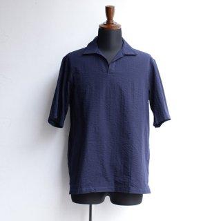 【Officine Generale】オフィシンジェネラル オープンネックラインショートスリーブシャツ ネイビー