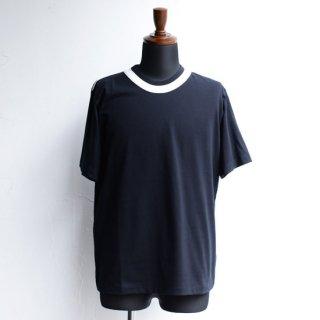 【masao shimizu】 マサオシミズ ラウンドダブルネックTシャツ ブラック×オフホワイト