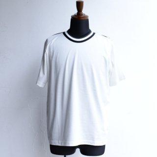 【masao shimizu】 マサオシミズ ラウンドダブルネックTシャツ オフホワイト×ブラック