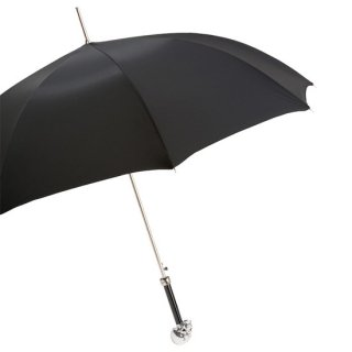 【Pasotti】パソッティ シルバースカルアンブレラ  ブラック 傘 カバー付き