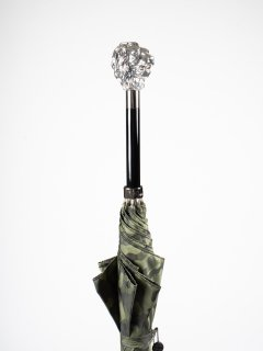 【Pasotti】パソッティ GREEN CAMOUFLAGE UMBRELLA WITH SILVER LION  HANDLE 傘