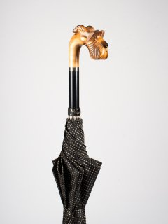 【Pasotti】パソッティ DOT UMBRELLA WITH HAND CARVED SCHNAUZER 傘