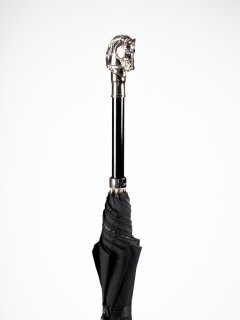 【Pasotti】パソッティ BLACK Oxford UMBRELLA WITH SILVER HORSE HANDLE 傘