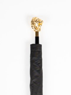 【Pasotti】パソッティ BLACK OXFORD FOLDING UMBRELLA WITH GOLDEN LION 折りたたみ傘