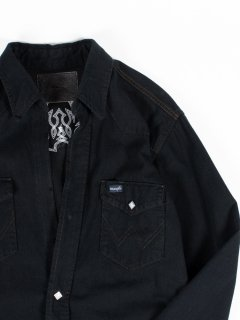 【The Letters】ザ・レターズ WESTERN CUTTING EMBROIDERY SHIRT -USED DENIM BLACK DYED