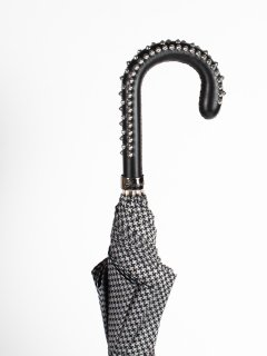 【Pasotti】パソッティ HOUNDSTOOTH CHECK UMBRELLA WITH STUDS HANDLE 傘